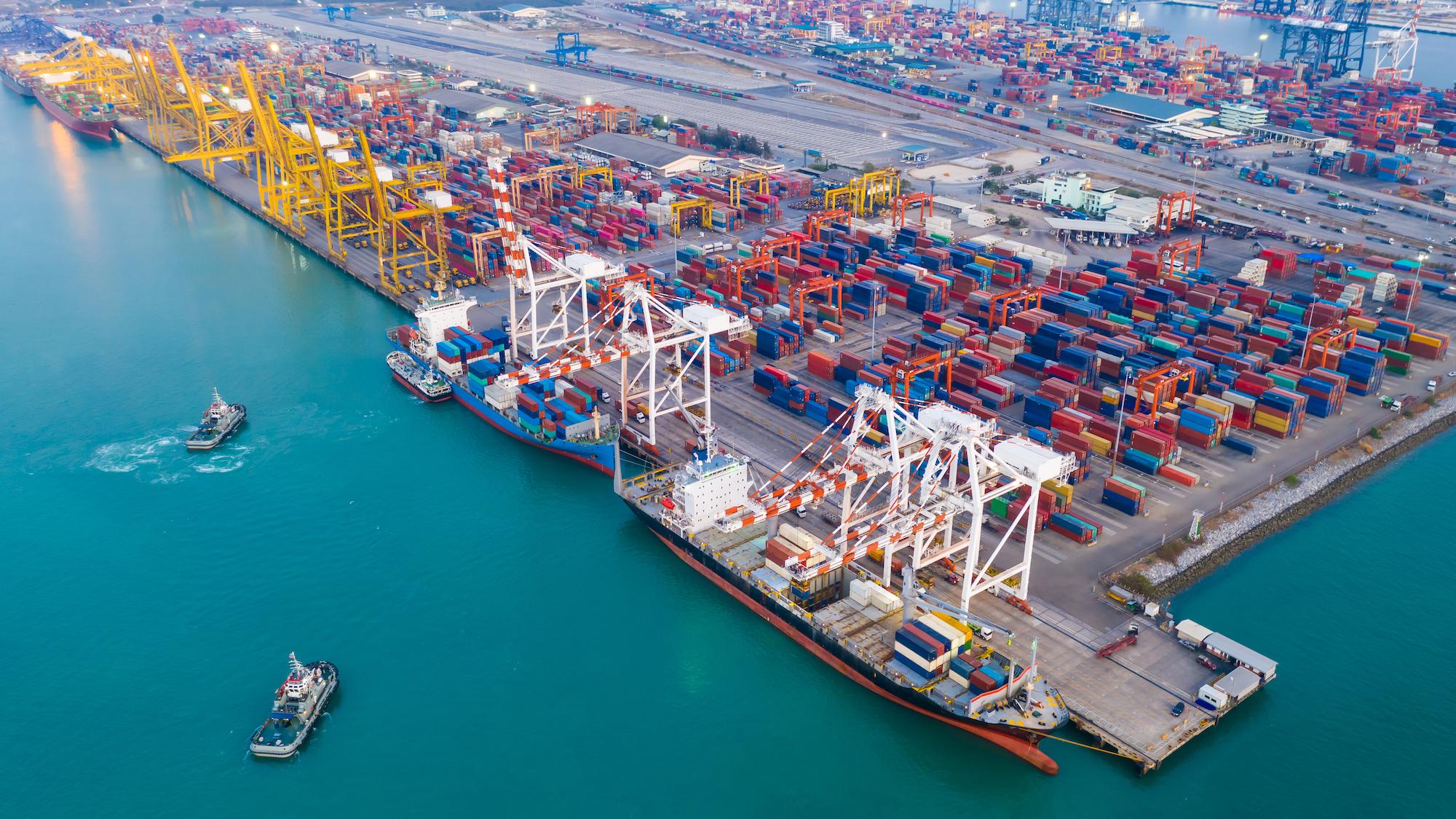 logistics cargo ports aerial view
