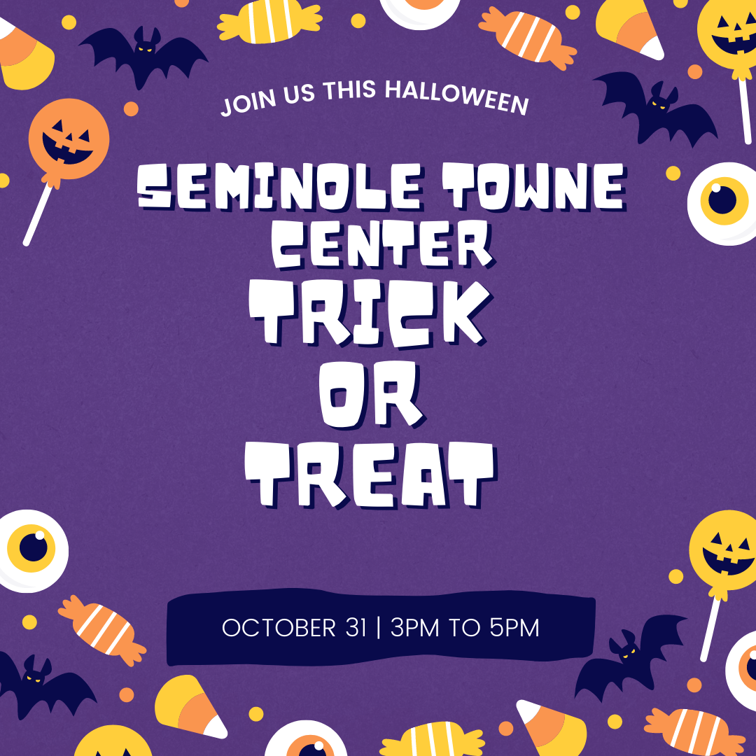 seminole towne center trick or treat graphic with halloween candy and purple background
