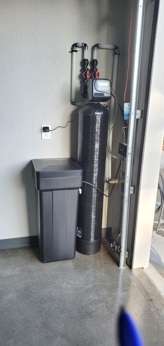Water softener installation in garage