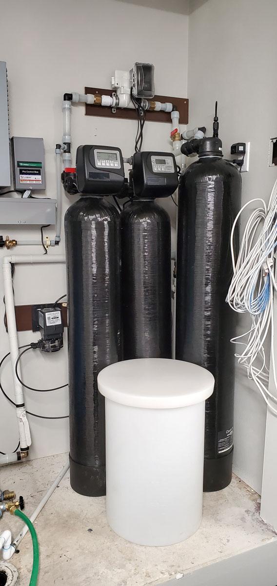 Complex water softener and pump installation