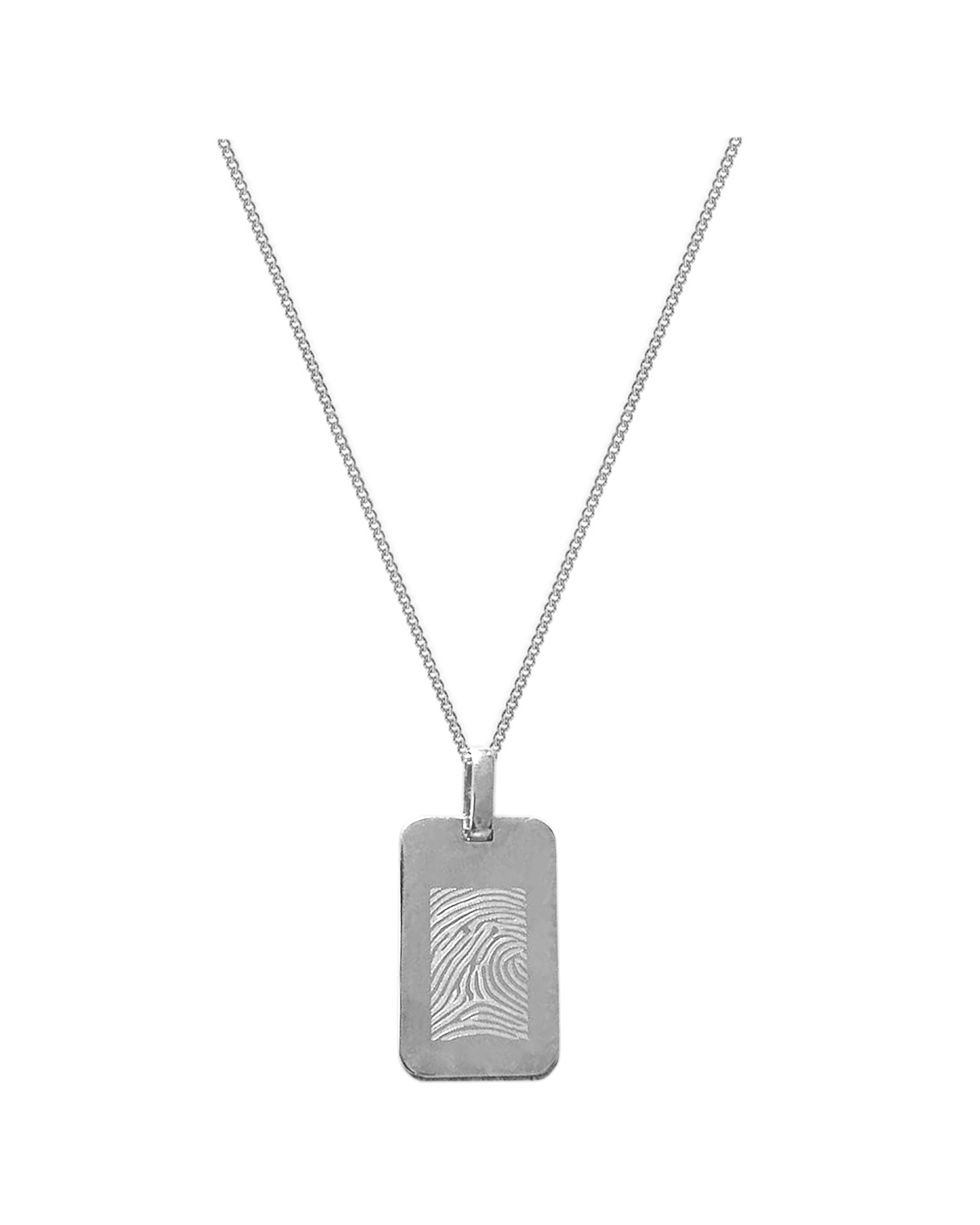 Tag Charm Necklace, silver