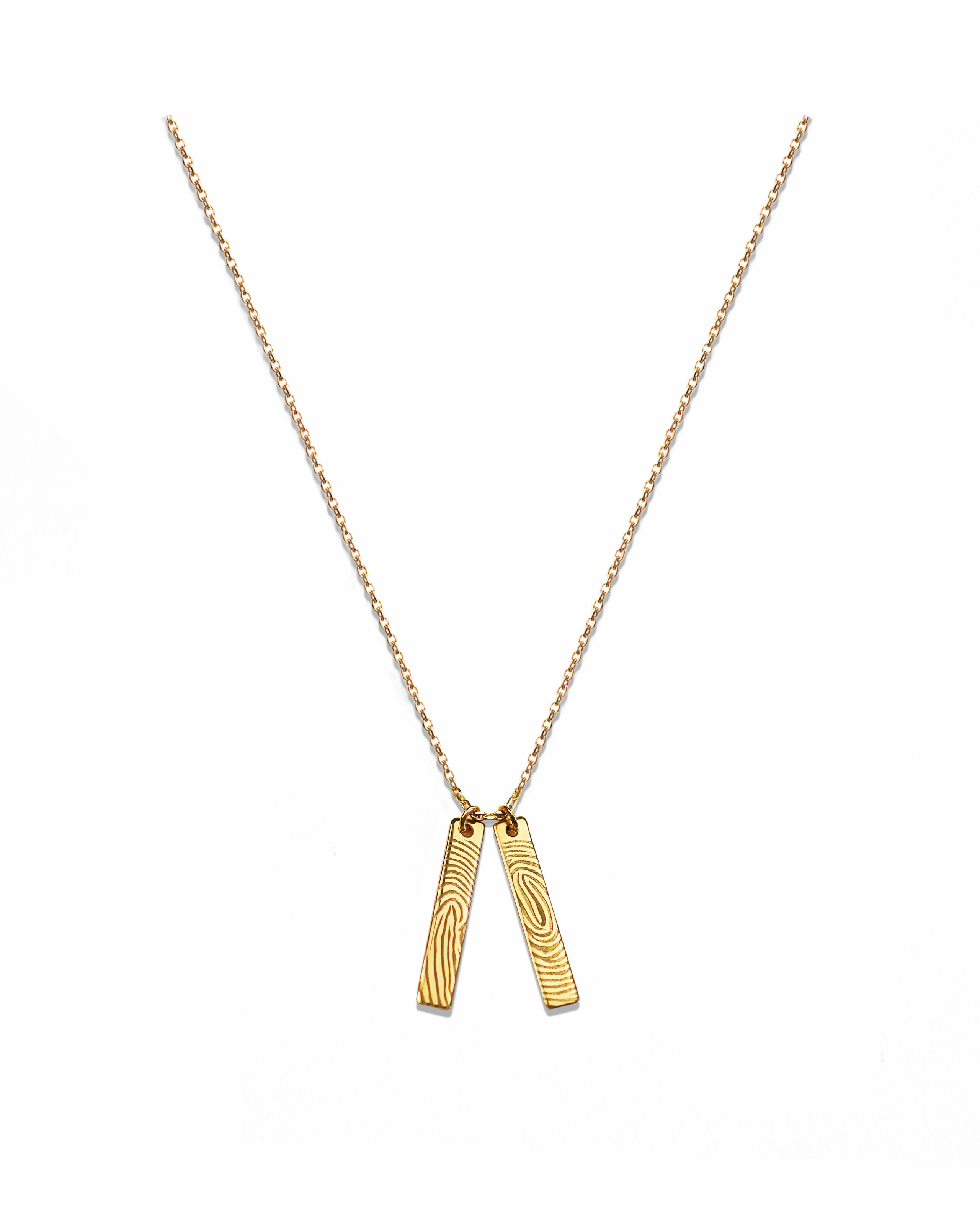 Double Tag Charm Necklace, Gold-Plated