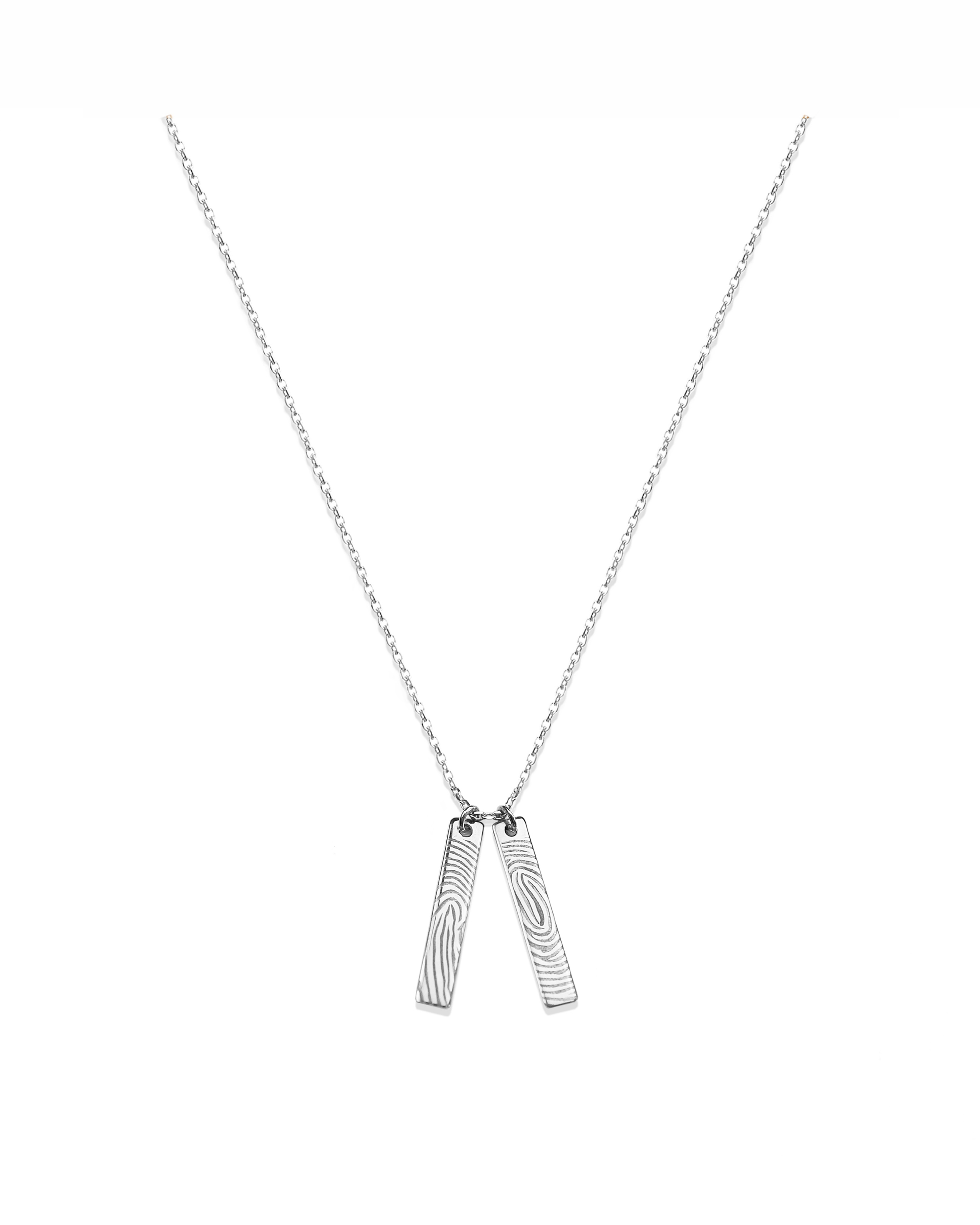 Double Tag Charm Necklace, Silver