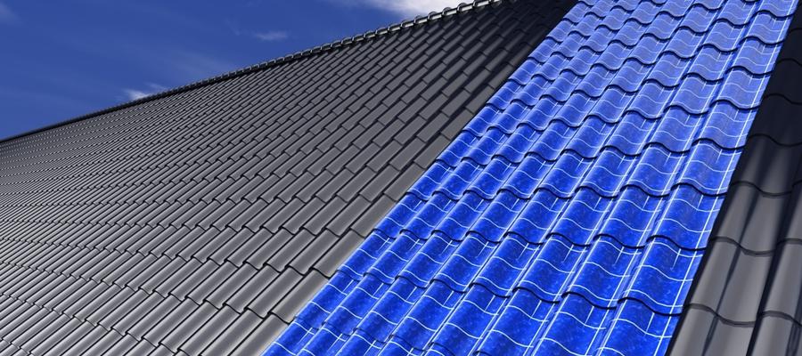 Takstein med solceller