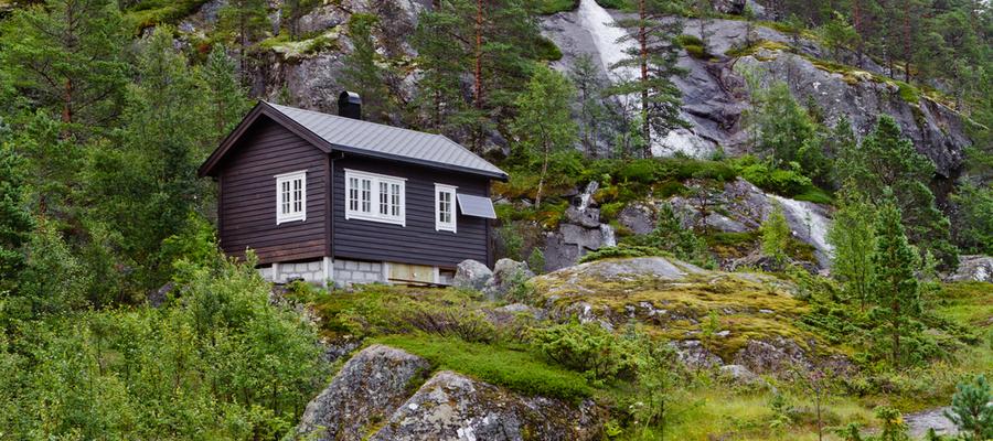 Solcellepanel hytte