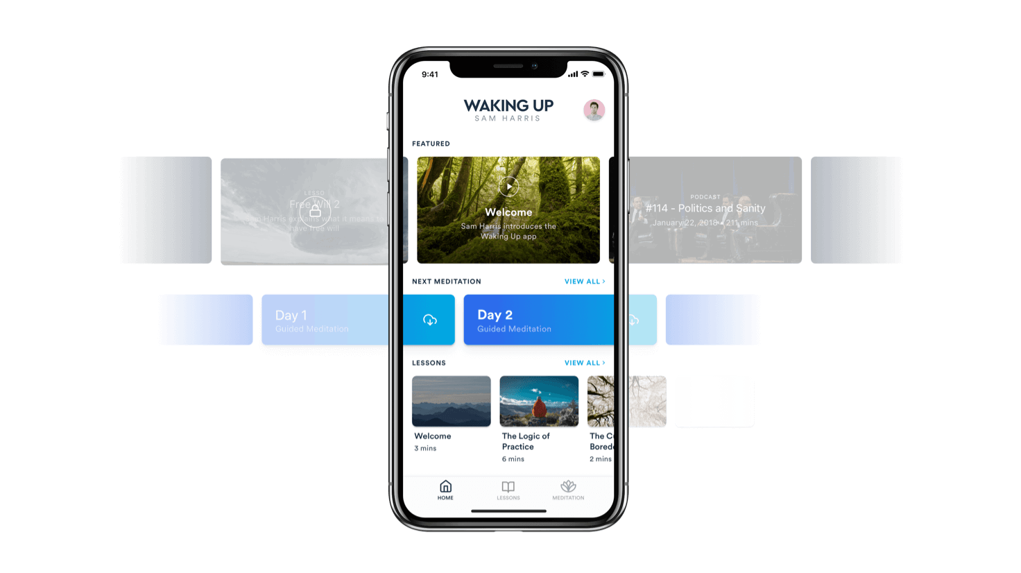 Waking up app homepage