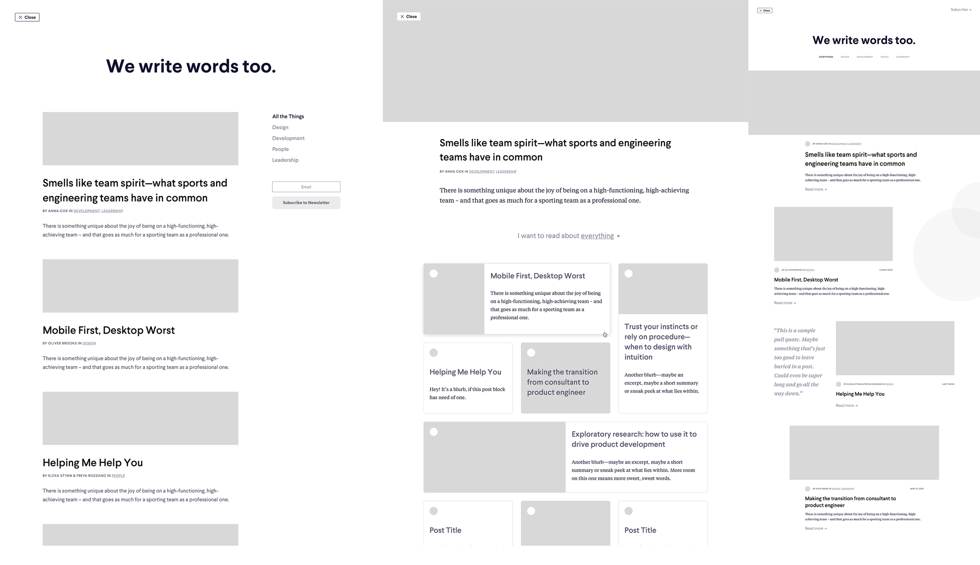 Wireframes from the early MetaLab blog design exploration