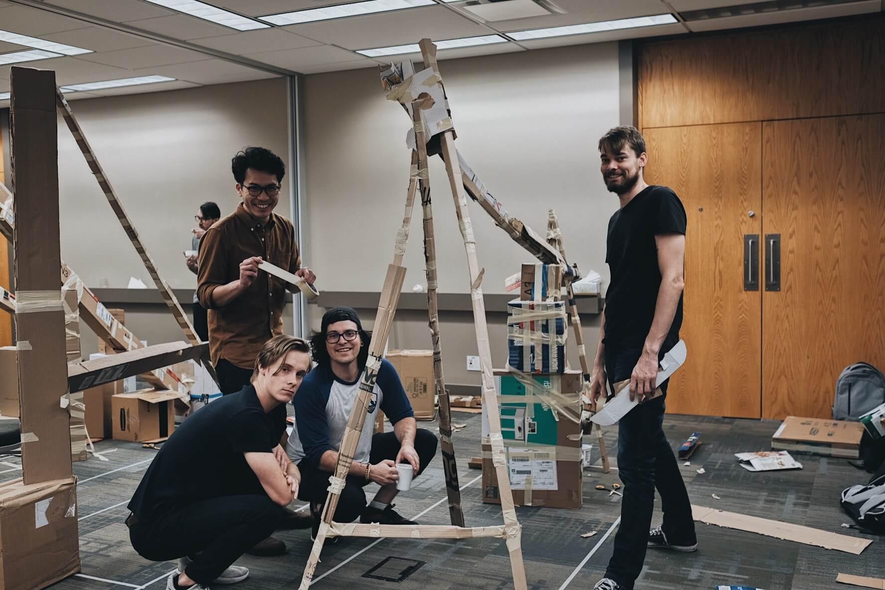 MetaLab's engineering team making marble runs at Remote Summit 18