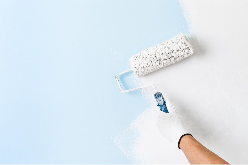 Wall being painted with roller