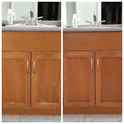 bathroom cabinet refinishing before and after