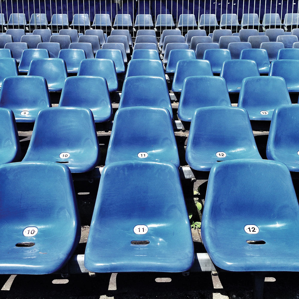 Photo of chairs in a stadium.