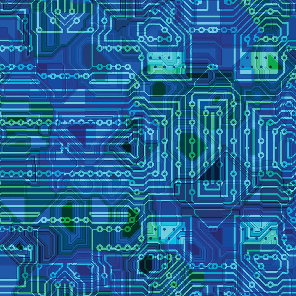 Feature illustration of computer microchips and transistors.