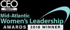 Sue Phillips received the CEO Report's Mid-Atlantic Women's Leadership Award in 2018