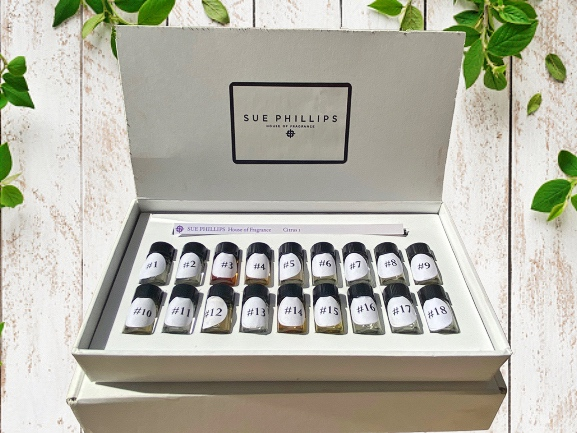 Our Scent Healing Kit with all 18 of our scents. These scents are numbered and contain Citrus, Green, Aldehydic, Fruity, Ozonic, FreshFloral, Rose Floral, Floral Floral, Heady Floral, Spicy, Woody, Balsamic,Musky, Mossy, Herbal, Gentle Floral, Tonic Sport, Amber. These lovely 18 perfumes are complex, unique and beautiful.