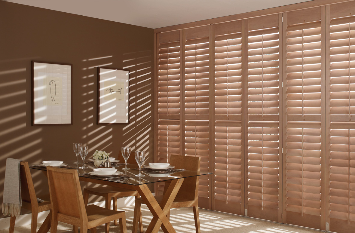 Dining Room with Brown Shutters