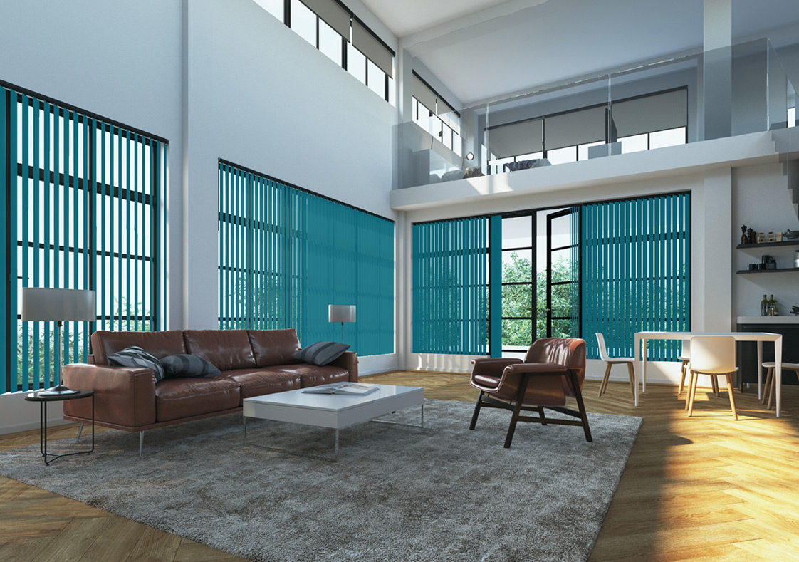 Interior of Modern Room with Turquoise Blinds
