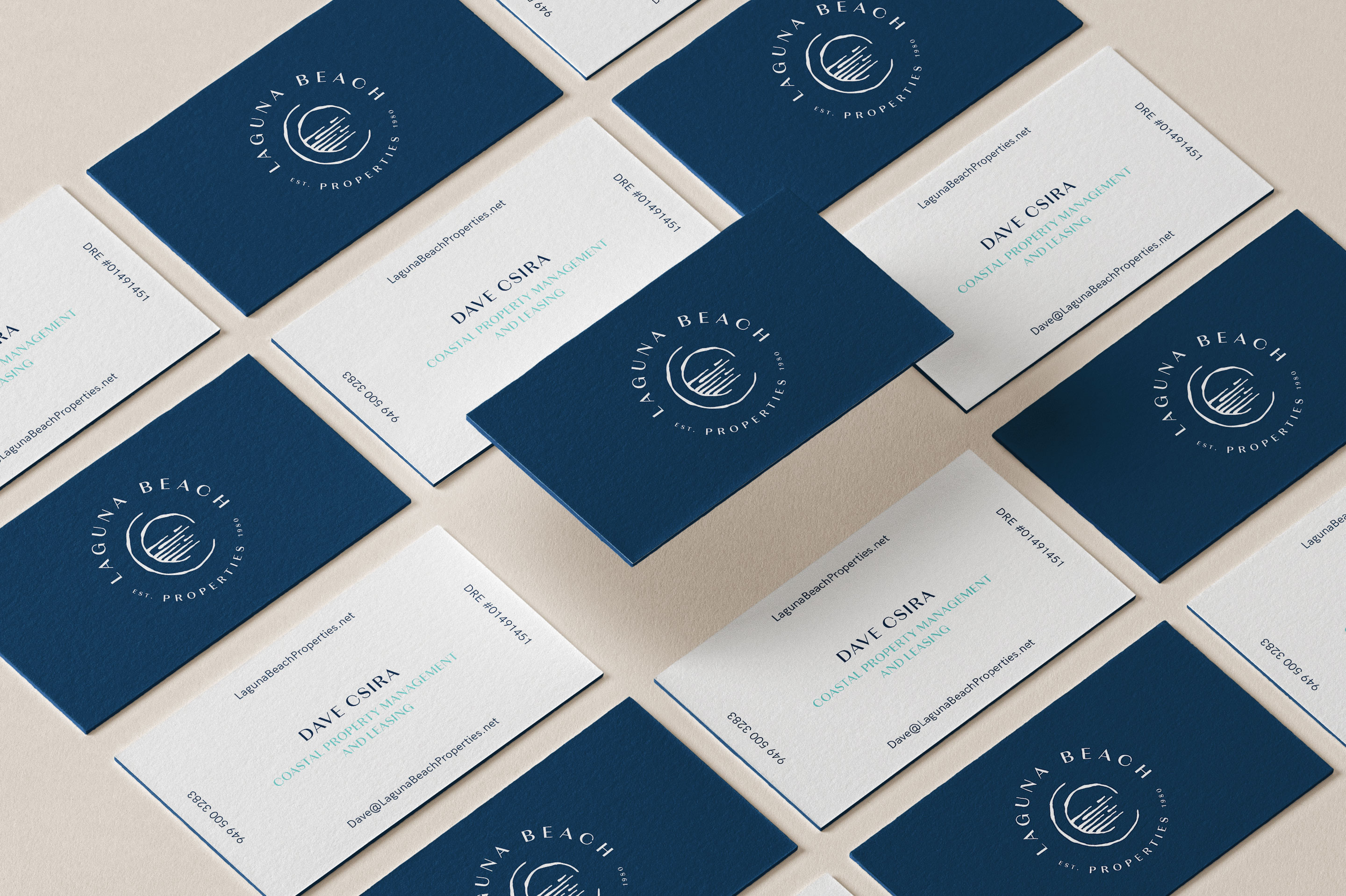 Business cards, Laguna beach properties, property, brand collateral, brand stationery