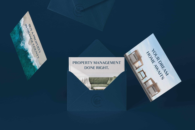 Laguna beach, laguna beach properties, branding, envelopes, property