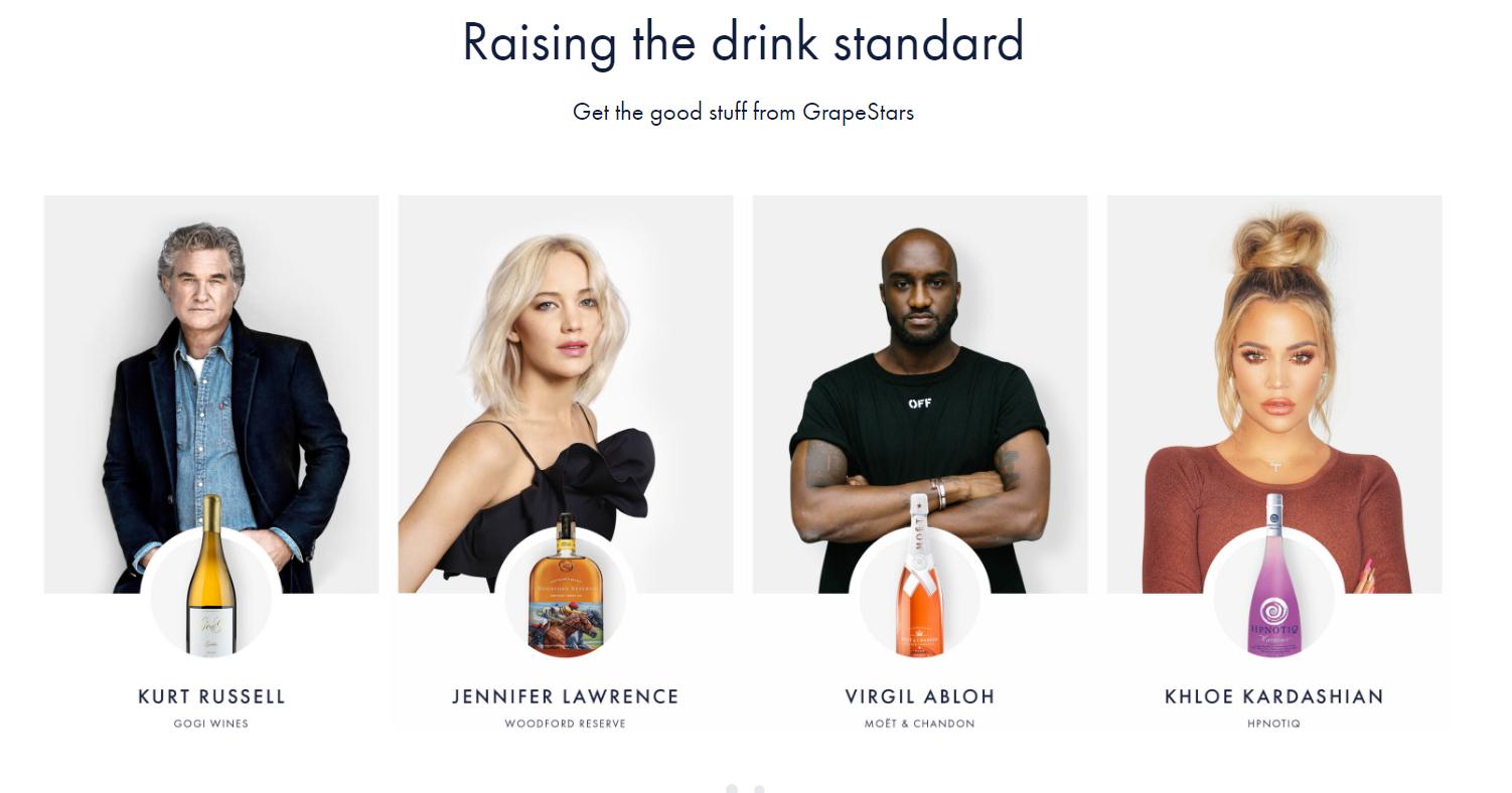 e-commerce mobile app grapestars with partner celebrities