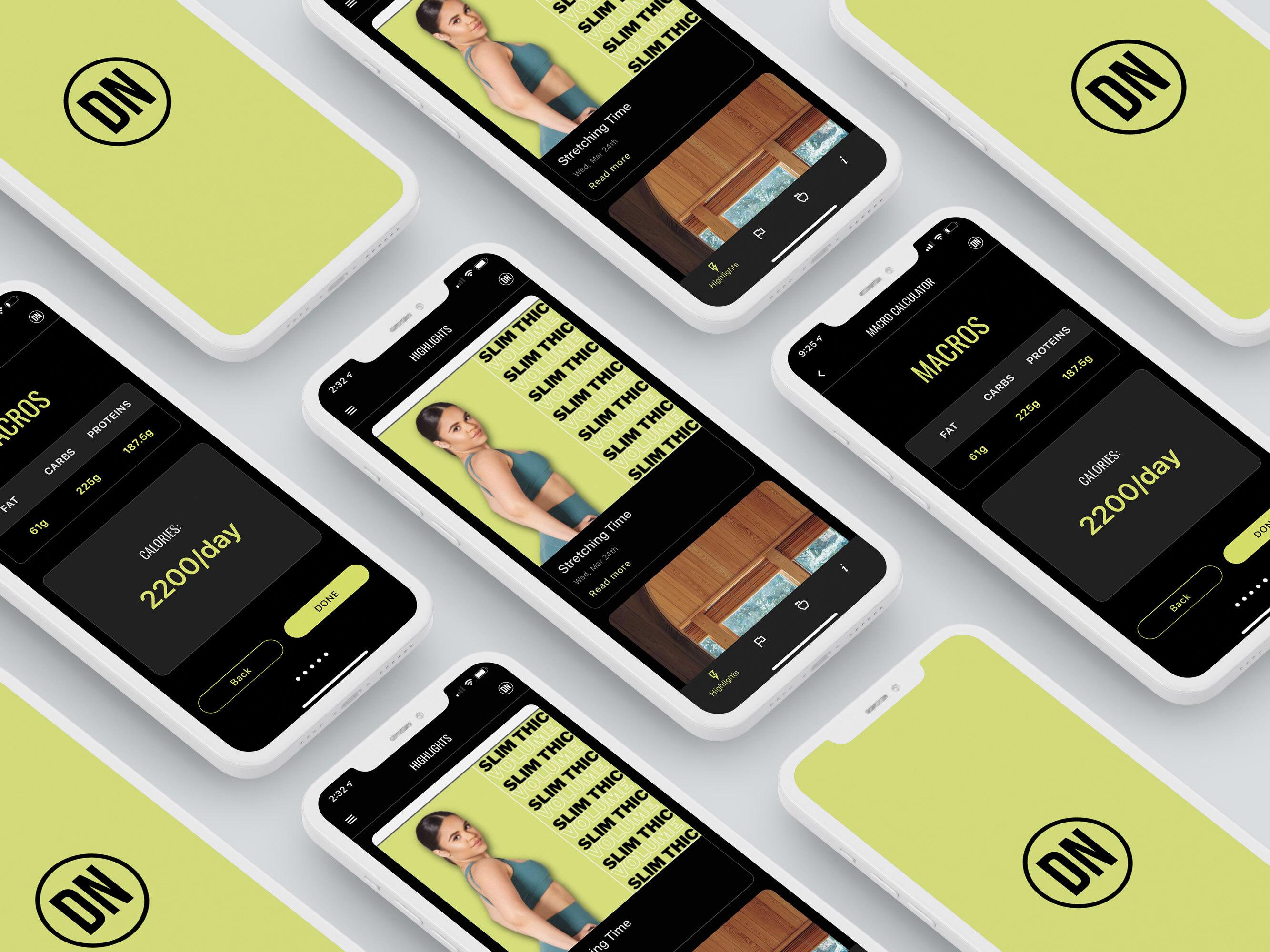 dariana nova fitness app mockups