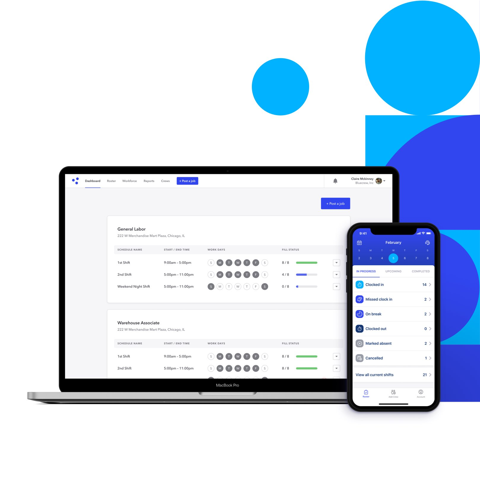 Bluecrew's platform and mobile app let clients to post jobs and see rosters of temp workers at any time