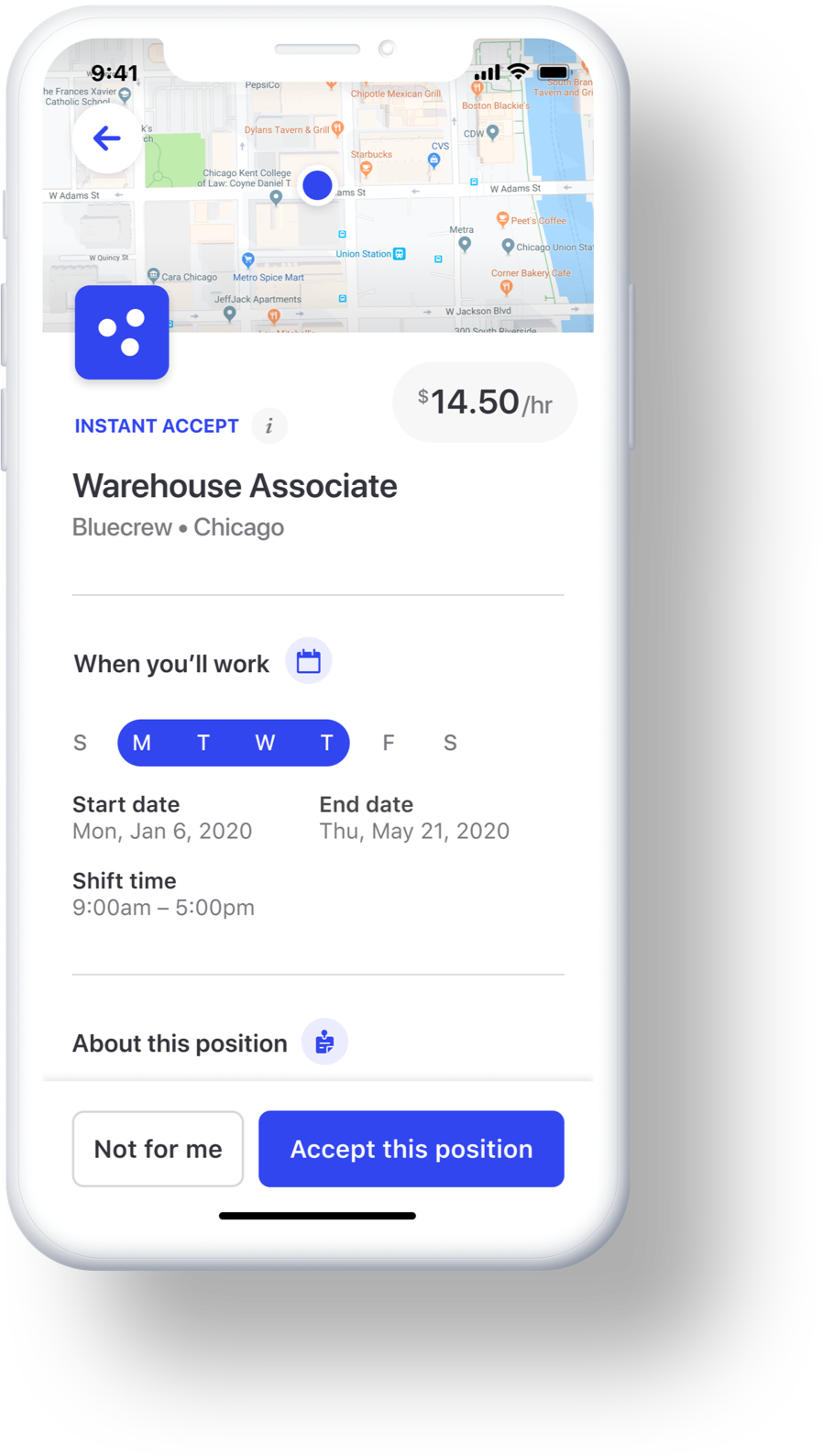 The Bluecrew app shows temp workers all the details they need, from shift times to job requirements.