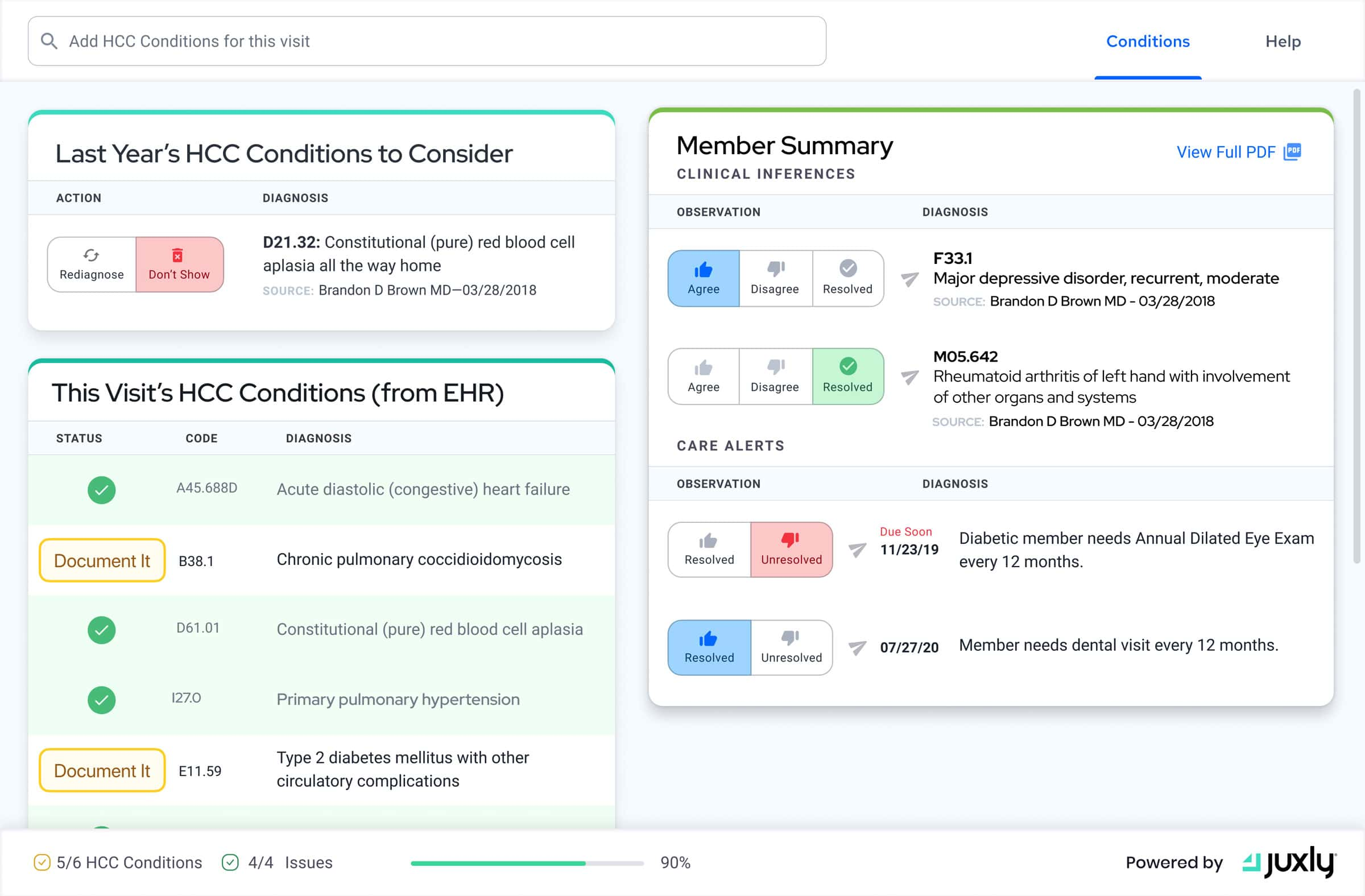 An Example of Juxly Vault's UI in the EHR.