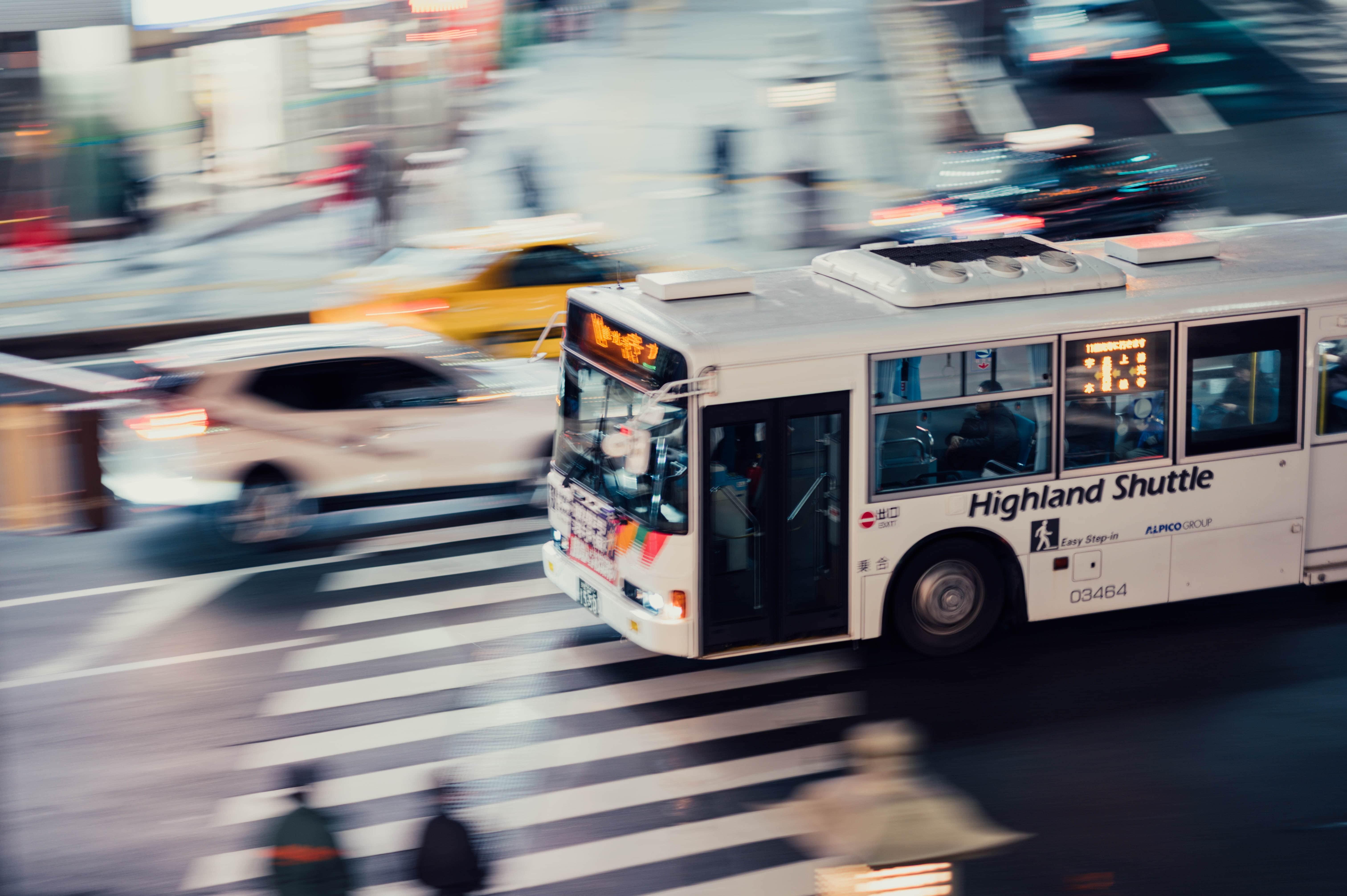 shuttle bus in city
