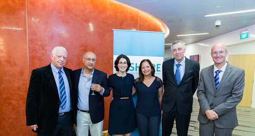 From left to right:  Professor Yoel Sasson; Professor Shlomo Magdassi; Yael Amit; Ambassador Yael Rubinstein, Professor David Engelberg, Professor Isaiah Arkin.