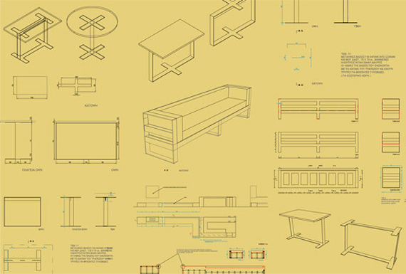 A collection of technical drawings for Nest's custom furniture designs.