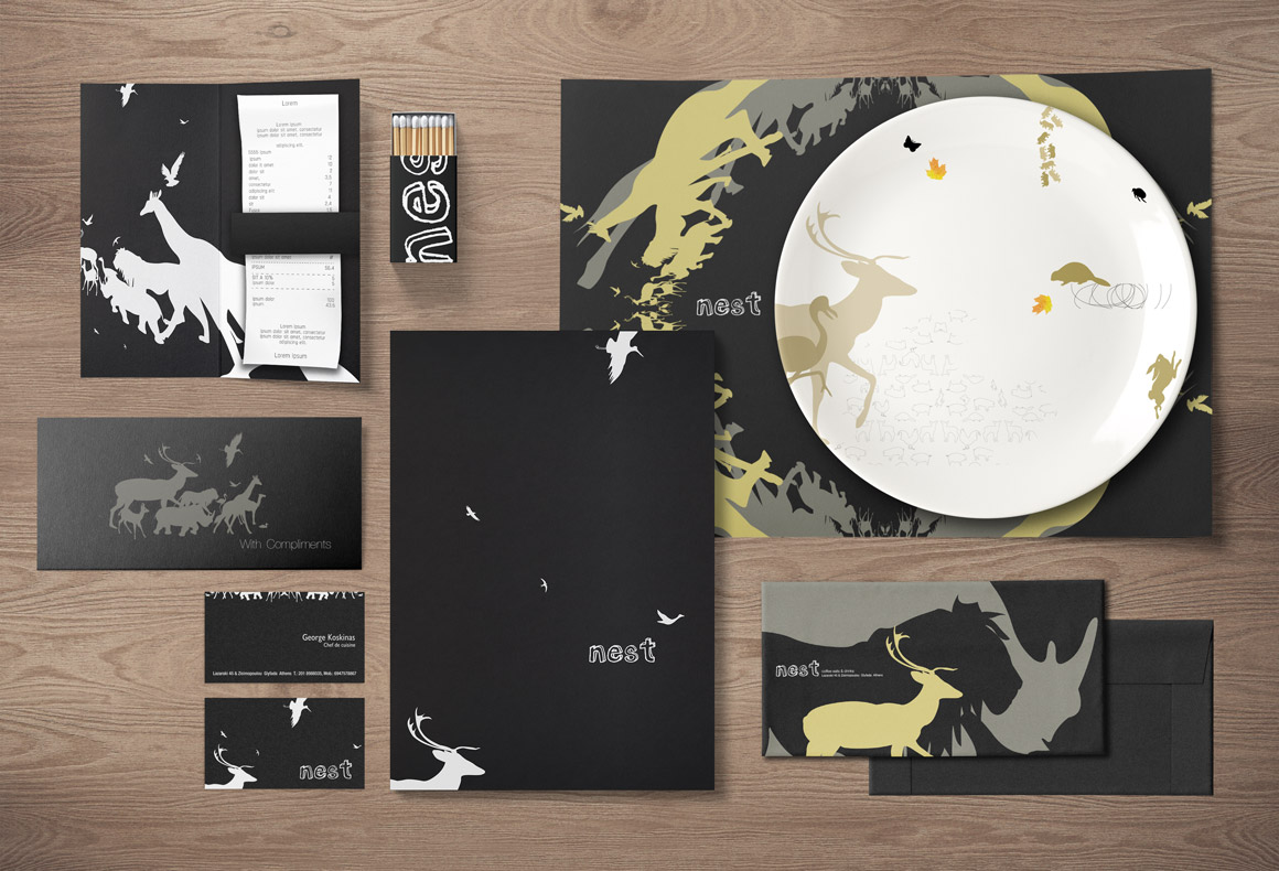 Nest's brand identity designed by Reform, including logo, business card, menu, placemat, bill holder, matches and plate.