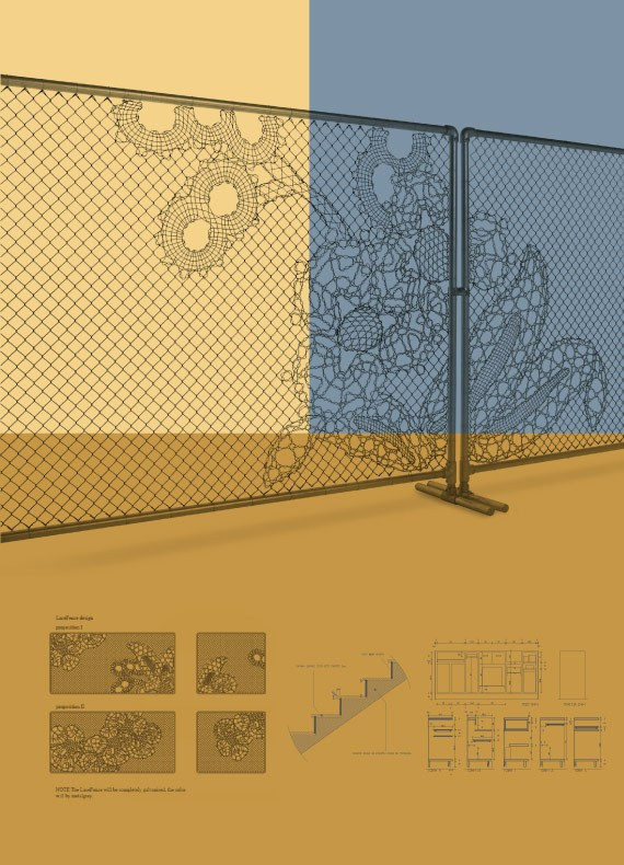 Technical drawings for a custom-made display fence, reception counter and staircase of a commercial interior.
