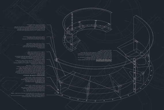 Technical drawings for custom-made booth seating upholstered in leather with channel tufting.