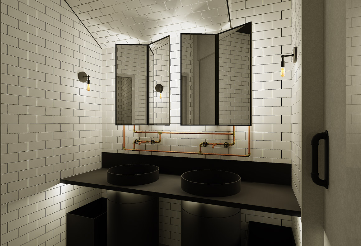 An industrial chic commercial restroom with white glossy tiles, black wash basins, backlit mirrors and visible pipework.