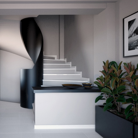 A grey and white circular staircase with a feature balustrade made of black curved solid wood.
