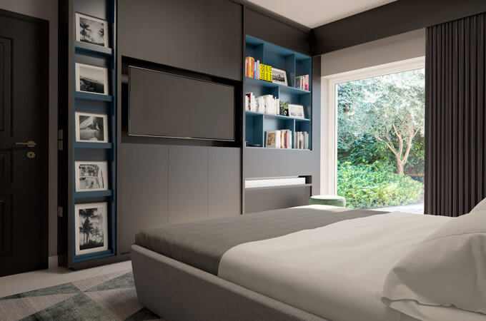 A modern bedroom featuring a custom-made bookcase and TV wall unit in a dark wood and blue lacquer finish.