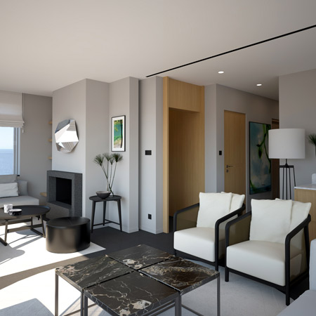 A transitional style living room with designer furniture.