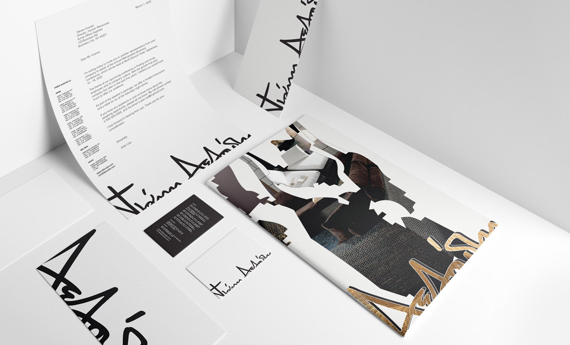 A refined brand identity including logo, business card, letterhead, envelope and catalogue for a prominent company.