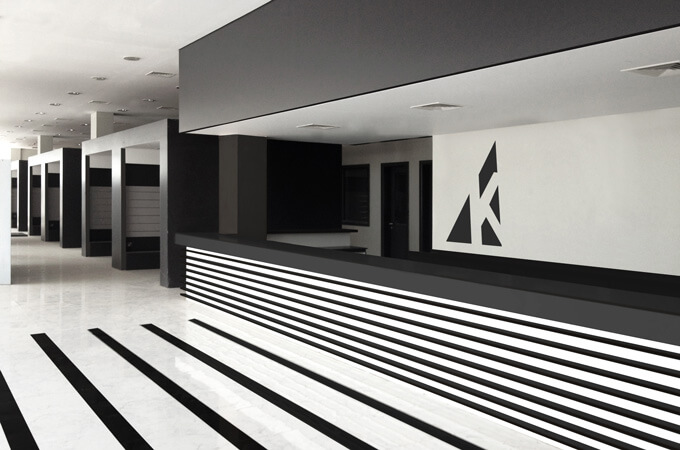 A black and white minimalist design for a commercial showroom.
