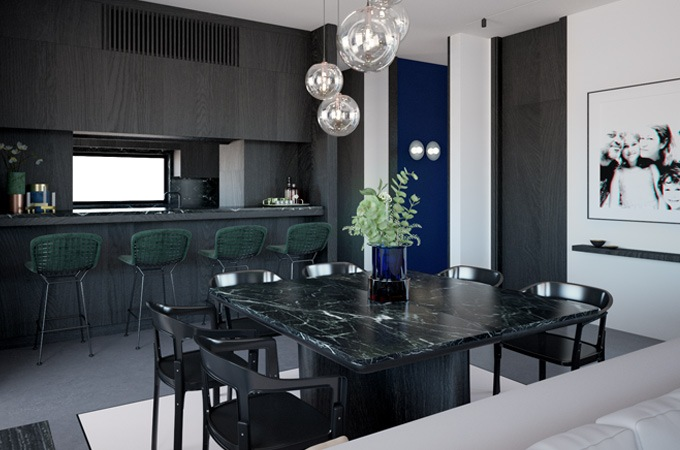 A contemporary dining room with a bar area featuring a dark marble table, black metal chairs and glass ball pendant lights.
