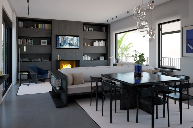 A modern open-plan living space combining a dining area and a cozy sitting area with a built-in bookcase and fireplace.