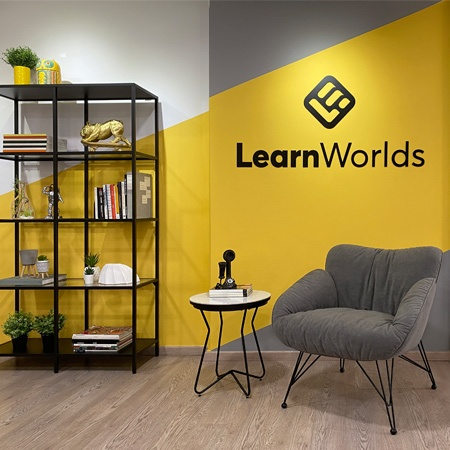 A yellow and grey theme modern interior for an office lounge.