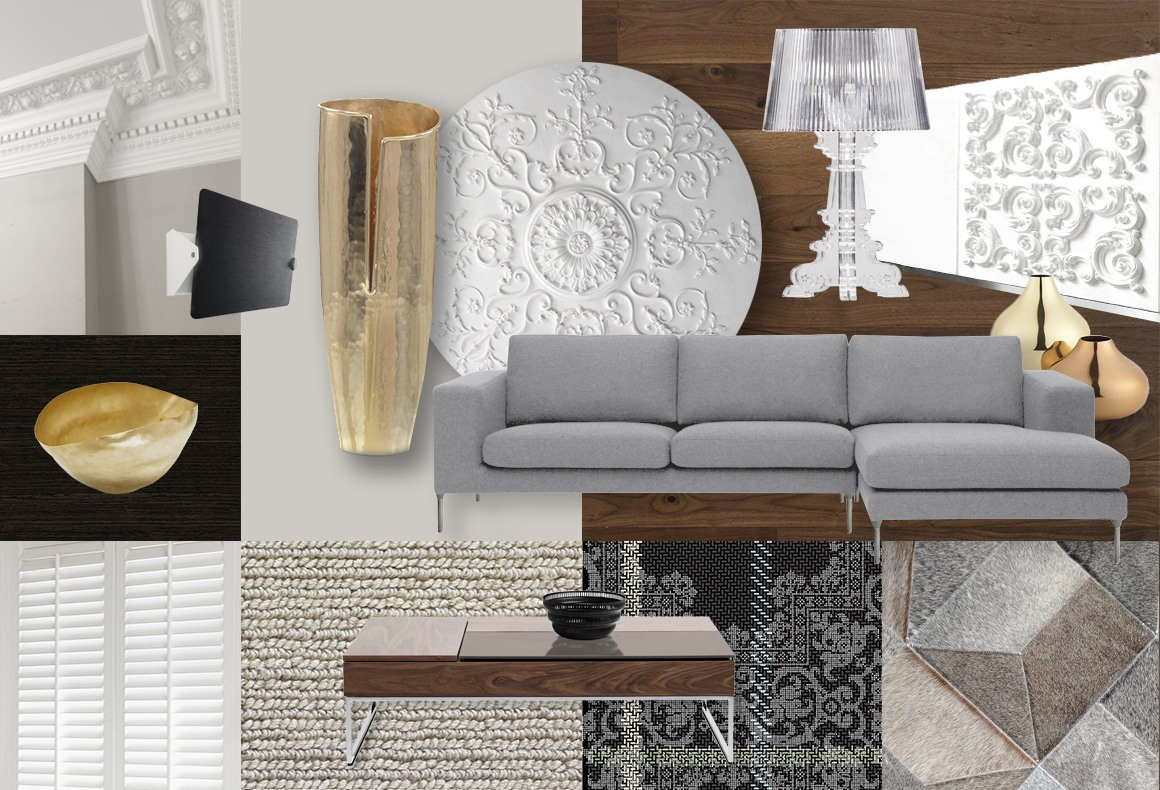 A concept board for a modern meets classic residential interior.