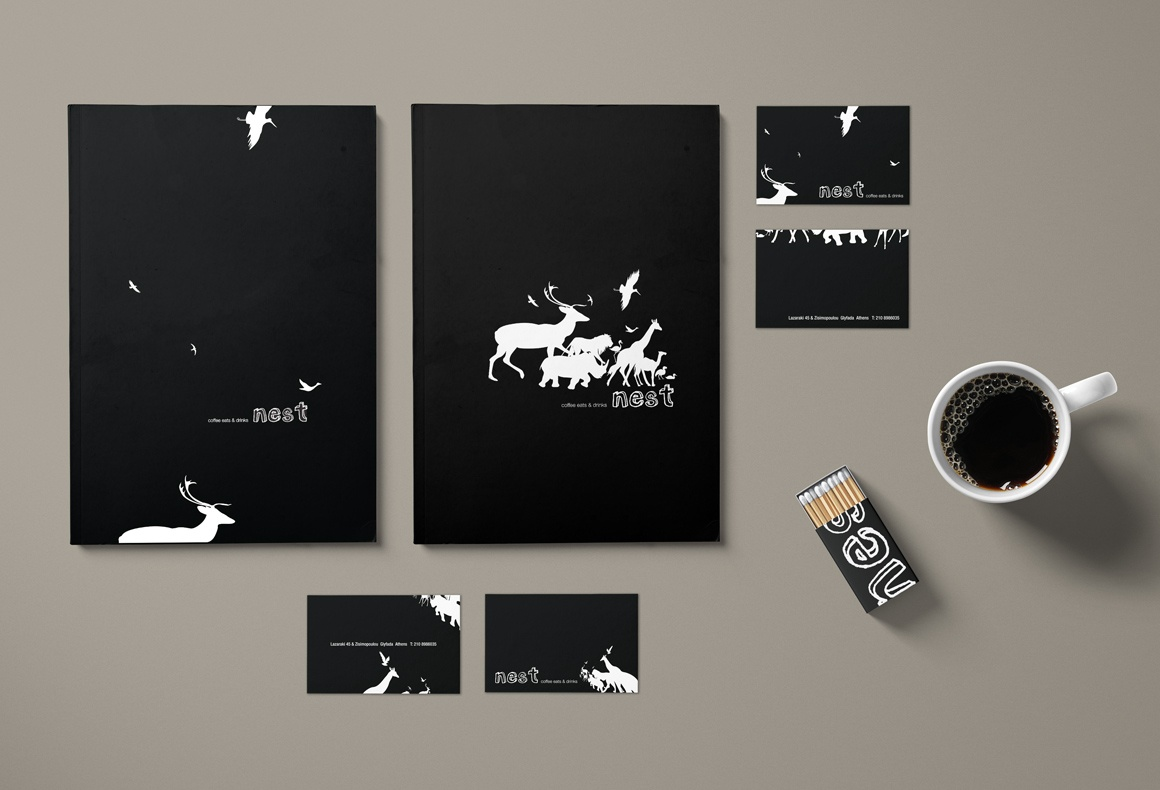 Graphic design applications by Reform for a restaurant brand identity including menus, business cards and matchboxes.