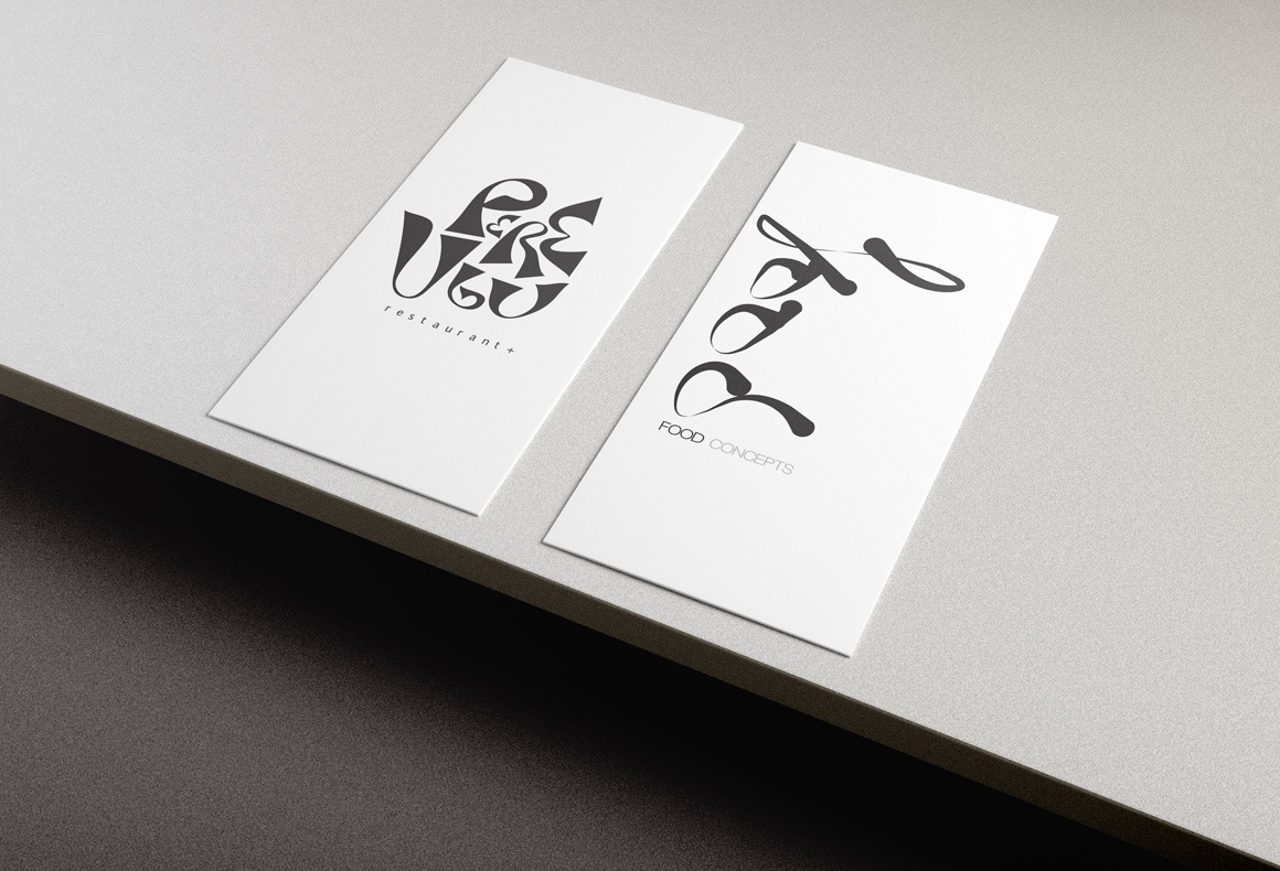 Black and white business card designs for Pere Ubu restaurant.