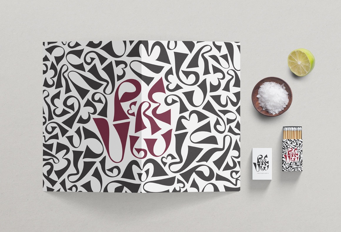 Pere Ubu restaurant branding with an abstract letterform pattern on its menu and matchboxes.