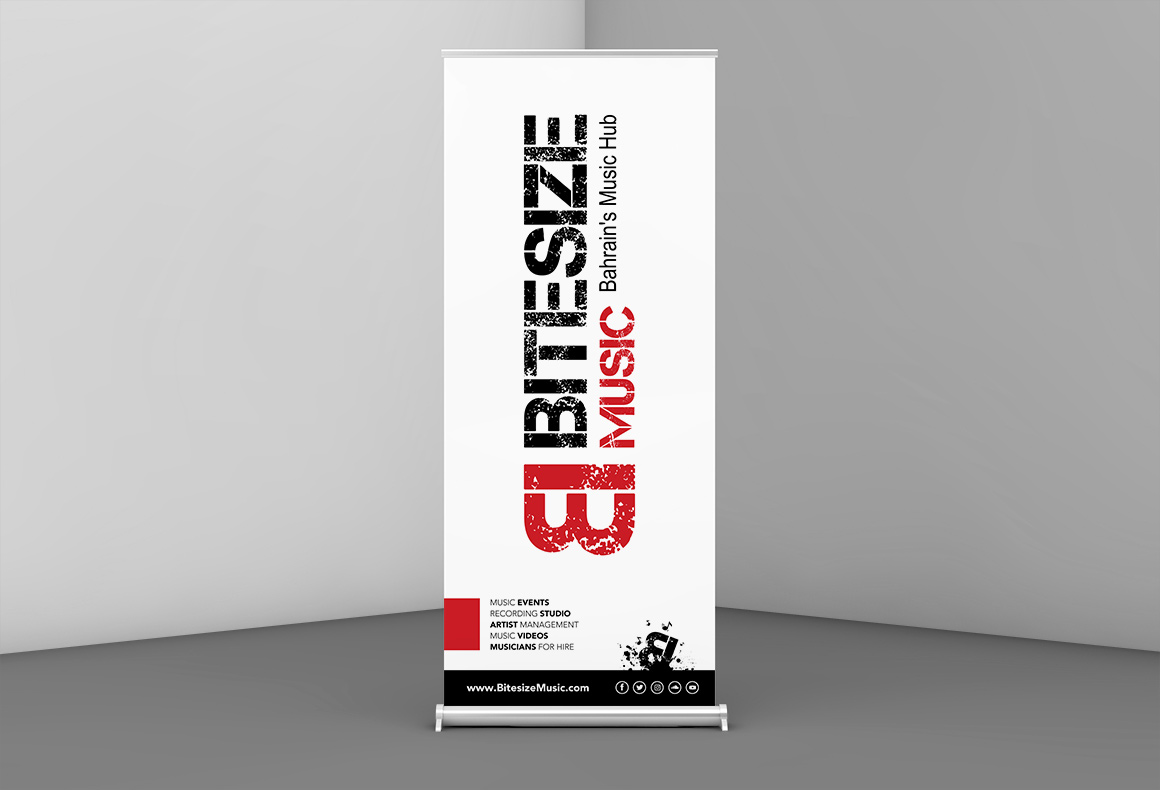 A black, white and red scheme promotional banner design for Bitesize Music events.