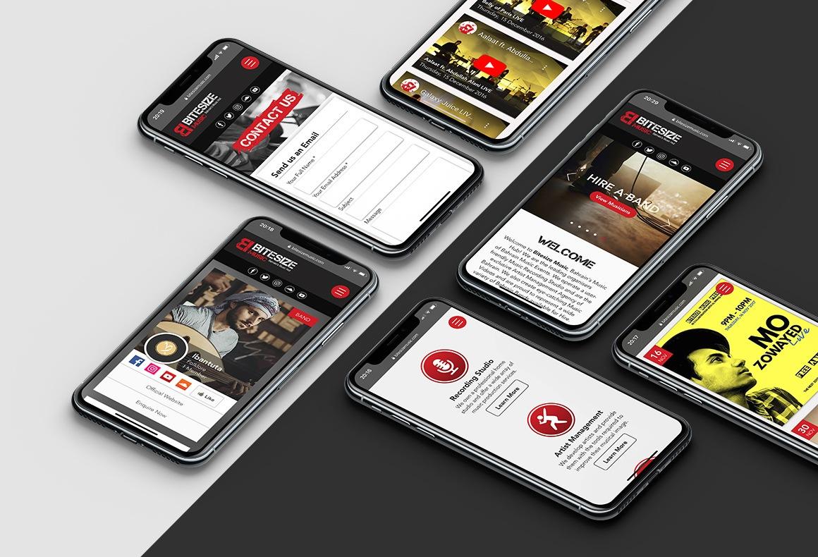 Various webpages of Bitesize Music's mobile website shown on several i-phones.