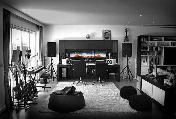 The modern black and white interiors of Bitesize Music production studio.