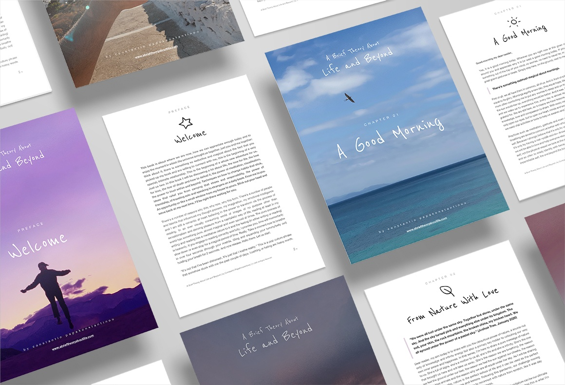 The designs for the downloadable pdf versions of the e-book A Brief Theory of Life and Beyond.